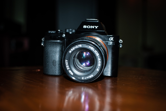 The Sony A7 with Helios 44 lens (via Fotga M42-NEX adapter)