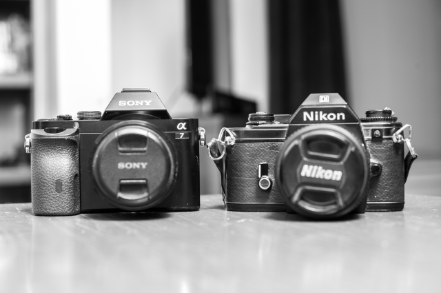Sony A7 and (similarly sized) Nikon EM (film)