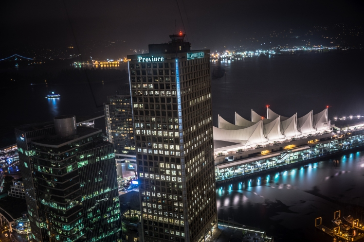 Vancouver's 'Canada Place' (with the white sails roof) at night