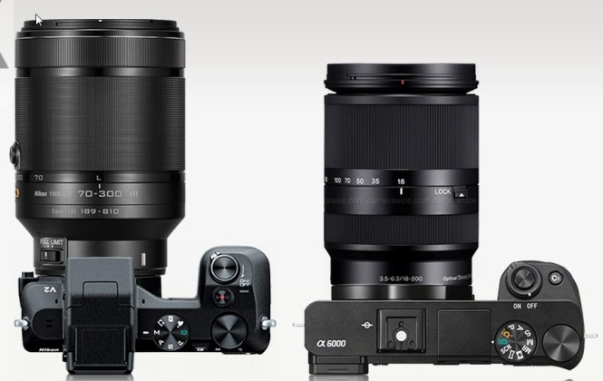 V2 w/70-300mm and A6K with 18-200mm (which is smaller than the 55-210mm)